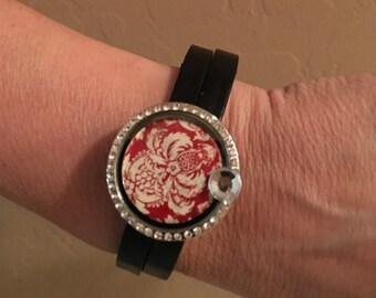 Black Leather Floating Locket Wrap Bracelet The Wall Flower