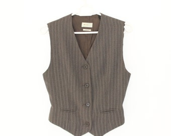 Brown Women Vest Country Romantic Comfortable Brown Waistcoat Striped  Small Size Gift to Mom Traditional