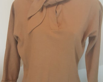 Vintage 50s LEE MAR of California THALSPUN Camel Brown Wool Blend 3/4 Sleeve Top Blouse