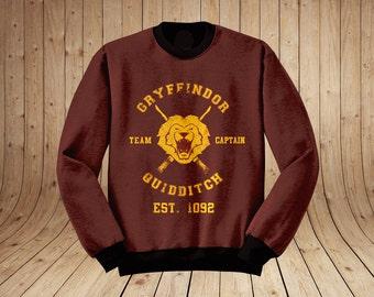 Gryffindor Quidditch Harry Potter Inspired Jumper Sweater Sweatshirt - Hogwarts Tumblr Sweatshirt Pinterest all sizes avlible