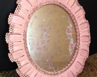 Vintage oval Syroco mirror; faux lace frame, shabby chic mirror, distressed mirror, shabby chic decor, shabby chic furniture, nursery decor