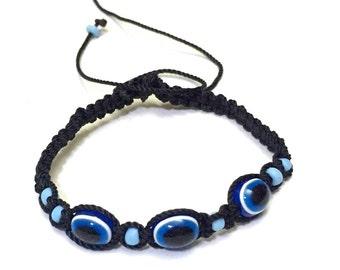 3 Evil Eye Black Rope Bracelet