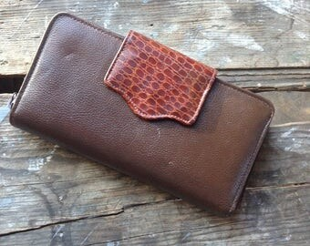 Vintage Genuine Brown Leather with Croco Trim Women's Checkbook Wallet