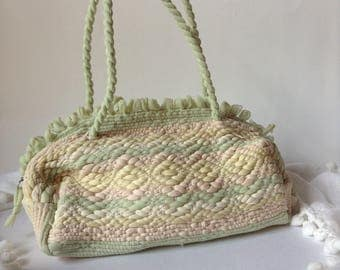 Pretty Pastel Small Cotton Woven Handbag / Purse / Shoulder Bag for Mothers Day
