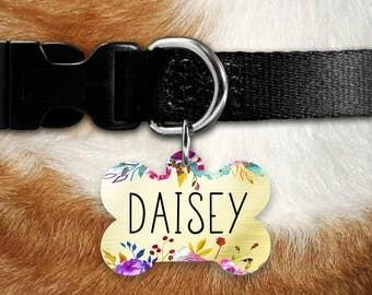 Dog ID Tag, Personalized Dog Tag, Customized Dog Tag, Pet ID, Dog Name Tag, Double sided Dog Tag, Dog Identification Tag, Floral Dog Tag