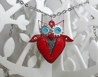 Red OWL necklace in polymer clay steampunk quilling