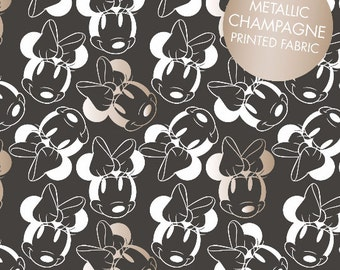 Disney Fabric- Minnie Mouse Fabric- Minnie Face Outline in Black with Champagne Metallic Print From Camelot