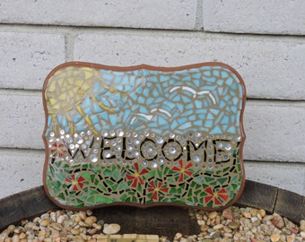 Floral Welcome Mosaic Plaque