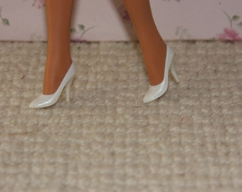 Vintage Barbie Mattel Doll white closed toe high heels shoes.On Hold for Noemi