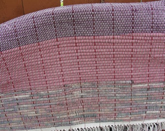 "Hand Woven Rag Rug Dark Grape Multi Measures 24 1/2"" x 43"" Item#1343"