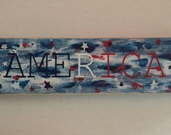 Handmade patriotic wooden sign