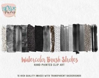 watercolor Brush Strokes Clip Art Painted black nuances Glitter Acrylic Graphic Elements Digital Design Resource Brush Clipart web element