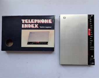 Retro 1980s Telephone Number Teleindex Slide-Up Flip Top. Home Index Telephone Phone and Address Book