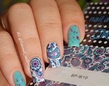 2 Patterns/Sheet Blooming Flower Nail Art Water Decals Transfer Sticker