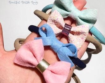 Dainty hair bows, baby, headbands, felt
