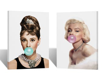 Audrey Hepburn and Marilyn Monroe Chewing Gum Canvas Print TWO-PIECE SET/ Home Decor /Icon Wall Art/Gallery Wrapped Canvas Art/Ready to Hang