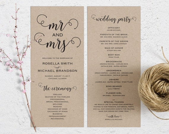 rustic wedding program template wedding ceremony program
