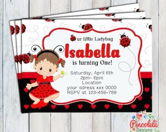 Baby Ladybug Invitation Party Birthday Baby girl