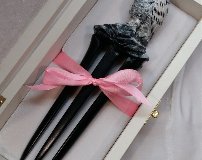 Hair accessories Hair fork 3 prong Wooden hair fork Wooden hairpin Hair fork for long hair Snowy owl Made to order for 5 days