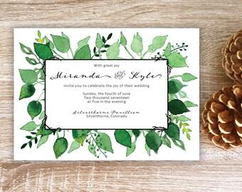 Wedding invitation, Leaf wedding, watercolor leaf invitation, green invitation, forest wedding, rustic wedding invitation