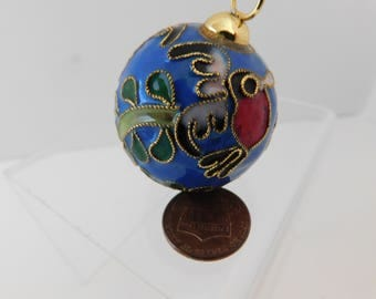 Cloisonne Ball vintage collectible ball decorative Christmas ball ornament beautiful heirloom piece collector Cloisonne colorful birds