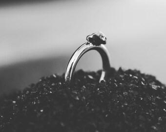 Silver ring and meteorite - alien ring - minimalist - round - round-gift - alliance