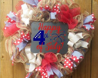 4th of July Wreath, American Flag Wreath, Patriotic Wreath, Burlap Flag Wreath, Patriotic Decor, Farmhouse Decor, Front Door Wreath, Burlap