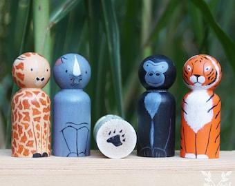 Zoo Animal Peg Doll Set
