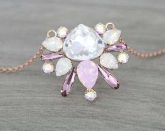 Rose Gold necklace, Swarovski necklace, Crystal necklace, Bridal necklace, Bridal jewelry, Blush crystal, Pink opal necklace, White opal
