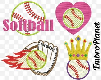 Softball - Designs for Embroidery Machine Instant Download Digital File Graphic Stitch 4x4 5x7 inch hoop ball baseball heart glove 576e