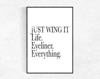 Just Wing It Print, Inspirational Print, Modern Minimalist, Scandinavian Print, Bathroom Print, Office Study Print, Motivational Wall Art