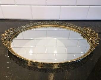 Gold Oval Embellished Mirror Tray, Vintage