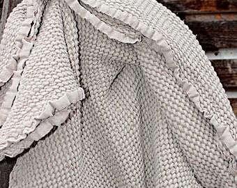 "Linen throw blanket.Linen bed cover.Natural Beige.Waffle textured linen.Sofa cover.47""x 71"".Garden linen blanket.heavy weight linen/"
