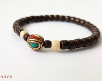 Bracelet coconut Pearl copper Pearl Brown stained