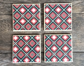 Pink and Turquoise Aztec Ceramic Coasters