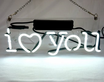 "New 'I Love You' Beer Bar Pub Art Banner Real Neon Light Sign 12""x5"""