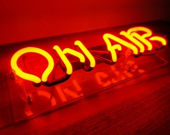 "Handmade 'On Air' Radio Play Banner Art Light Neon Sign 12""x4"""