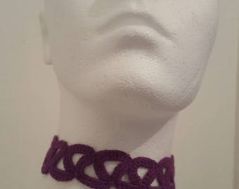 "Handmade ""ME vs ME""  crochet choker Purple"