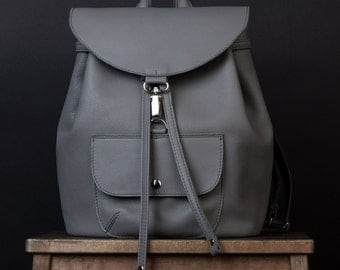 Gray leather backpack. Womens backpack. small leather backpack. simple backpack. Backpack for women. minimalist backpack. womens pack
