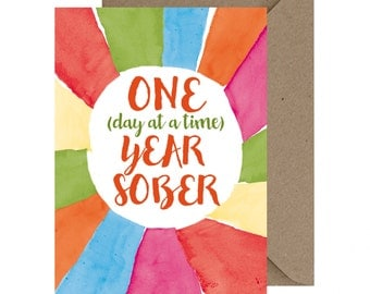 Sobriety Birthday Card, Sobriety Anniversary, AA Birthday Card, 12 Step Recovery Card, One Day at A Time, Sobriety Gift. 12 Step Gift