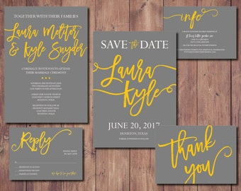 Printable Wedding Invite Suite, Rustic Wedding Invitation Kit, Simple Wedding Invitation Suite, Yellow and Gray Wedding Invitation