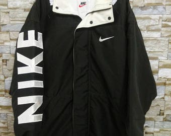 Vintage 90's NIKE SWOOSH Big Logo Nike Embroidered Spell Out Basketball Parka Jacket Hoodie Size Large