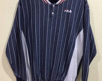 Excellent!!! Sale!!! Rare Vintage 90s Fila Sweatshirt Stripes Pullover Jumper Hip Hop Swag Sweater Sportwear