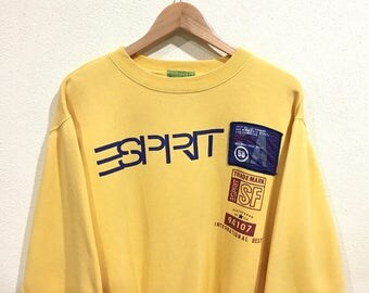 Rare!!! Vintage ESPRIT Sweatshirt Pullover Jumper Sweater Yellow Colors Big Logo Spellout