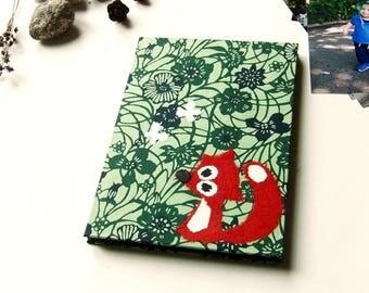 """Accordion Photo Album """"fox in Blue and Green Blossoms"""" Katazome shi"""