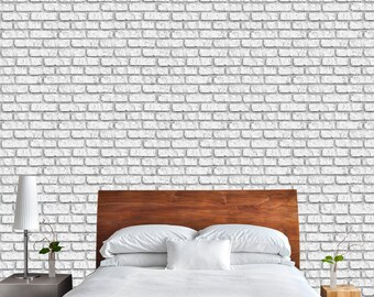 White Brick Mural | Adhesive Wall Mural | Adhesive Wallpaper | Removable  Wallpaper | Removable Wall Part 58