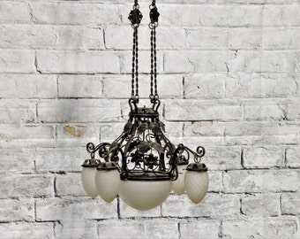 Vintage Black Iron Chandelier from Italy