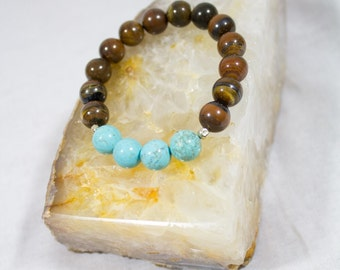 Turquoise & Tigers Eye Beaded Bracelet