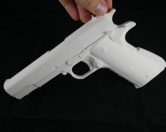 White Platic 3d Printed Colt 1911 Gun Prop | 1:1 Scale Full Size Model Replica
