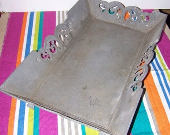 Tray / table galvanized metal - Table top basket / galvanized metal basket
